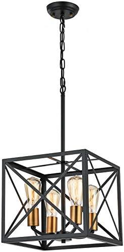 4-Light Farmhouse Pendant Light Black Industrial Chandelier Rustic Ceiling Hanging Light Fixture