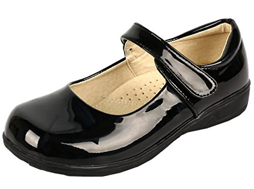 DADAWEN Girl's Strap School Uniform Dress Shoe Mary Jane Flat (Toddler/Little Kid/Big Kid) Black/Patent US Size 11 M Little Kid