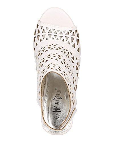 Nature Breeze Women Perforated Block Heel - Dressy, Trendy, Date Night - Peep Toe Mule - GG77 by White