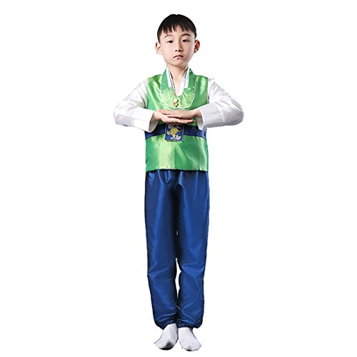 Ez-sofei Boys Korean Traditional Costumes Hanboks 130 Green&Blue
