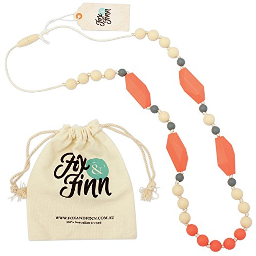 Rubber Necklace Round (Fox and Finn 'Mackenzie' Silicone Teething Necklace for Babies   Safety Knotted Silk Rope   Does Not Pull Hair Out   14 Inch Drop (grapefruit sorbet))