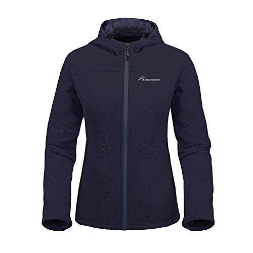 Plush Warm Jacket (OutdoorMaster Women's Fleece Jacket - Waterproof & Stain Repellent, Ultra Soft Plush Lining & Optional Hoodie - Full-Zip (DarkBlue Hoodie,L))