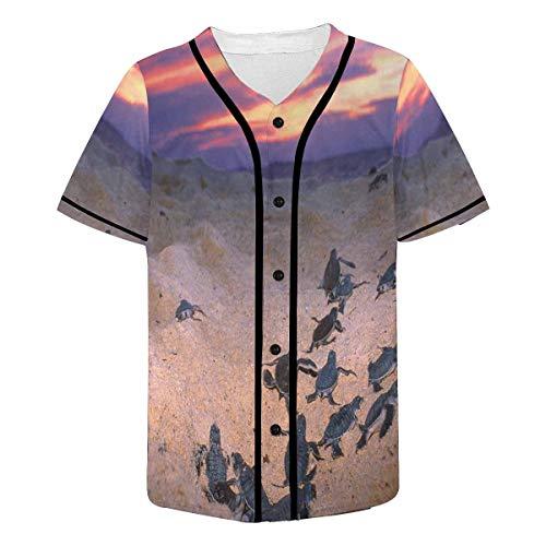 INTERESTPRINT Men's Turtles Running on Beach Coast Baseball Jersey Button Down T Shirts 2XL