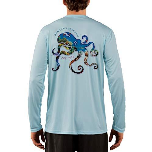 SAND.SALT.SURF.SUN. Coral Octopus Mens UPF 50+ Long Sleeve T-Shirt