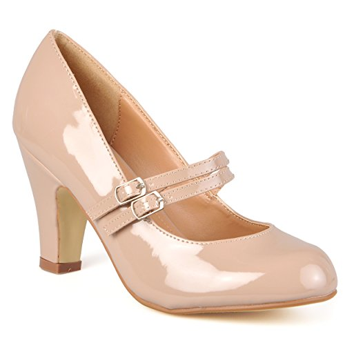 Journee Collection Womens Wide Width Mary Jane Pumps Taupe Patent 10 Wide (Pump Wide Width Platform)