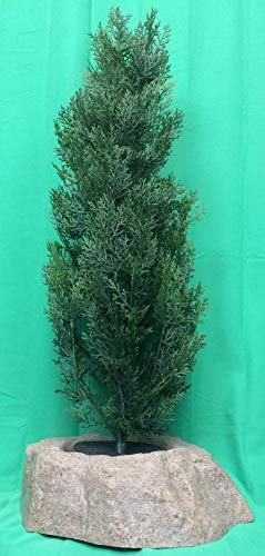 """(Artificial UV Rated Outdoor 36"""" Cedar Tree Bundled with Sm Rock Planter Cover, by Silk Tree Warehouse)"""
