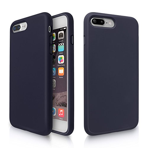 iPhone 8 Plus Case, iPhone 7 Plus Case, Fuleadture Liquid Silicone Gel Rubber Shockproof Soft Full Protective Cover with Microfiber Cloth Lining Cushion for iPhone 7 Plus/8 Plus - Midnight Blue