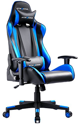 GTRACING Gaming Chair Racing Style Ergonomic Office Chair E-Sports Seat Height Adjustment Swivel Computer Chair with Headrest and Lumbar Cushion GT002 Blue
