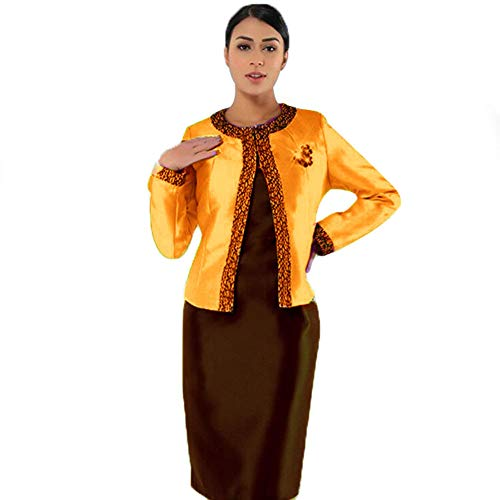 Kueeni Women Church Suits with Hats Church Dress Suit for Ladies Formal Church Clothes (Orange/Brown Suit, 18)