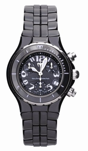 TechnoMarine Women's TCB02C MoonSun Ceramic Silver-Plated Black Watch ()