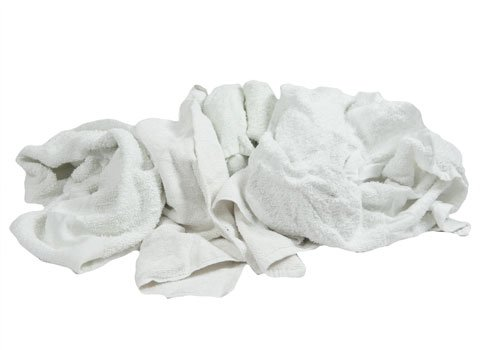 Cut-up White Towels - 20'' x 20'' - Recycled Rags - 40 Pounds in a Box - by RagLady