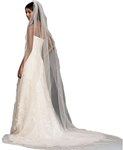 Gogh White 1 Tier 3M Cathedral Floral Beaded Scallop Edge veils bridal wedding veils 2017 27