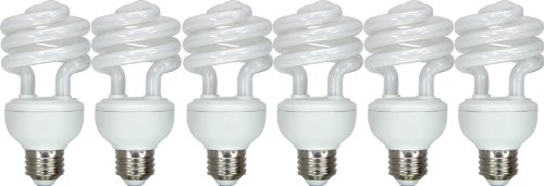 GE Lighting 71284 Energy Smart Spiral CFL 20-Watt (75-watt replacement) 1250-Lumen T3 Spiral Light Bulb with Medium Base, 6-Pack ()