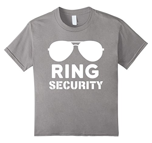 Price comparison product image Kids Funny Wedding Party Shirt Ring Security T-Shirt Ring Bearer 4 Slate