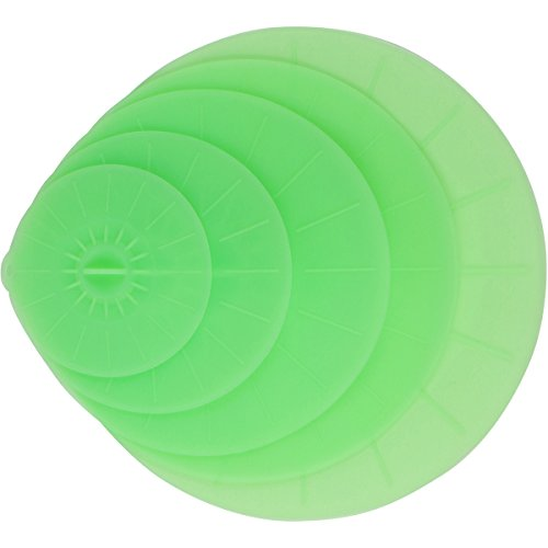 Green Silicone Lid Covers Set - 5 Reusable Flat Covers For Food, Bowls, Pans, Cups, Pots And More – Includes large almost 14"