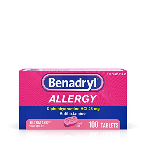 Benadryl Ultratabs Antihistamine Allergy Relief with Diphenhydramine HCl 25 mg, 100 ct (Best Over The Counter Allergy)