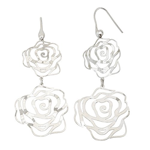 14K Yellow Gold or Rhodium Plated 925 Sterling Silver Rose Flower Cut Out Dangle Earrings 14k Yellow Gold Rhodium Plated