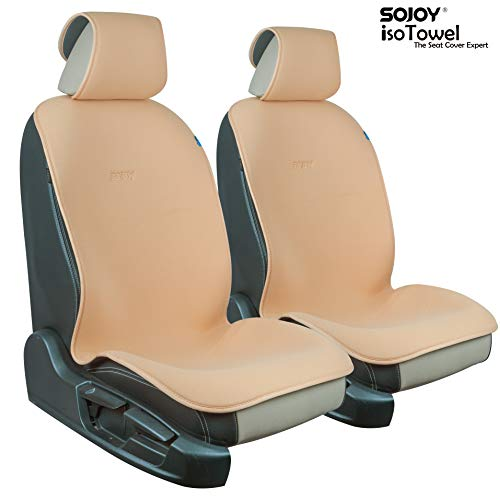 - Sojoy Universal Four Season Fashionable Car Seat Cushion Cover for Front of 2 Seats (Cream)