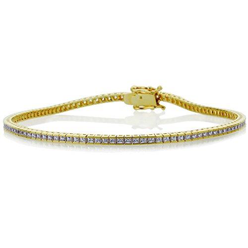 Double Accent 14K Yellow Gold 1.5mm 3.27 ct.tw Princess Cubic Zirconia Channel Set Tennis Bracelet