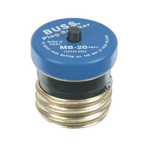 Bussmann BP/MB-20 20 Amp, 125V Edison Base Plug Fuse Circuit Breaker