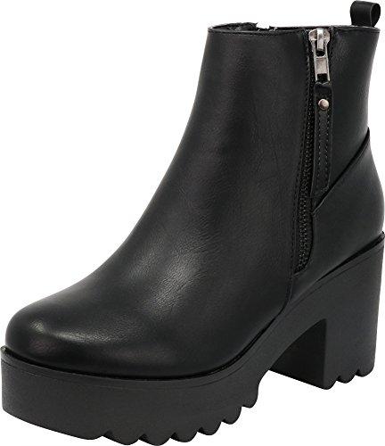 Cambridge Select Women's Closed Toe Side Zip Platform Chunky Block Heel Ankle Bootie (10 B(M) US, Black - Platform Trendy Black Goth Shoe