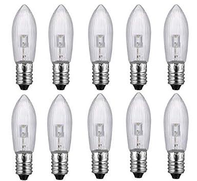 50 LED 0,2W E10 10-55V Topkerzen Riffelkerzen Spitzkerzen Ersatz Lichterkette aa