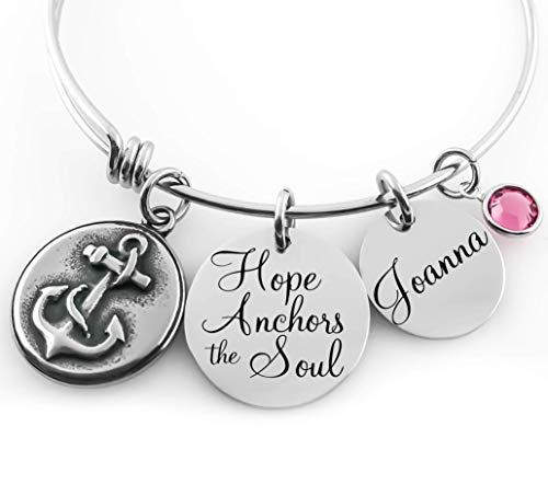 Personalized Bangle - Hope Anchors the Soul - Anchor, Name Disc and Crystal - Custom - Anchor Disc