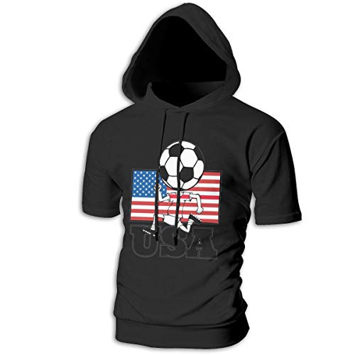 ZOE-SHOP Soccer Fan with Flag Kid Mens Hipster Hip Hop Short Sleeve Longline Pullover Hoodies Shirts -