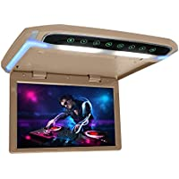 12.1 inch Flip Down Monitor 1080P HD TFT LCD Overhead Car TV Screens Ultra Thin Roof Mount Monitor HDMI SD MP3 MP4 Player with LED Back-lit Button and Ambient Light (CL1201HD-Beige)