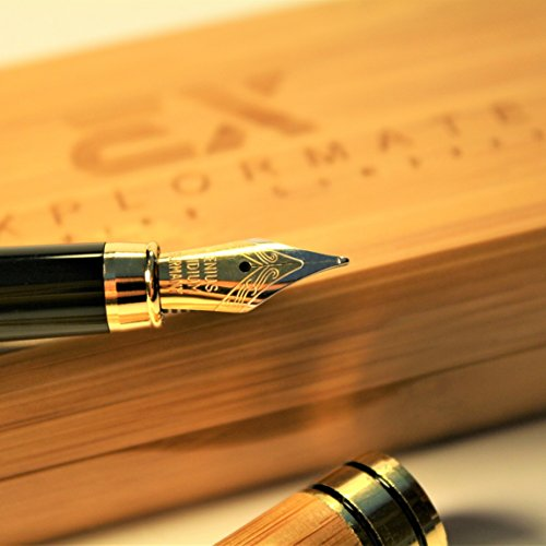 Explormate Fountain Pen - Handcrafted Refillable Bamboo Pen Set with Fine Medium Nib, Ink Refill Converter and Designer Desk Holder - Green and Eco-Friendly - Perfect for Journaling and Calligraphy by Explormate