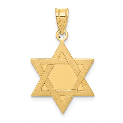 14k Yellow Gold Jewish Jewelry Star Of David Pendant Charm Necklace Religious Judaica Fine Jewelry Gifts For Women For Her (Gold Pendant White Religious Jewish)