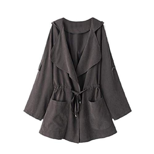 Outwear Jacket Duster Drawstring Anorak MogogoWomen Outdoor Grey Trench TOXxqEzEwK
