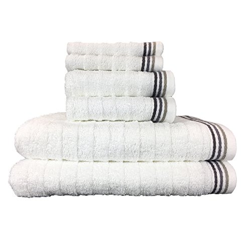 Wave Premium 6 Piece Bath Towel Set | 100% Ringspun Quick Dry Ribbed Cotton| 2 Bath Towels, 2 Hand Towels, 2 Washcloths by Arkwright (Gray)