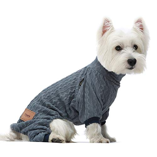 Fitwarm Turtleneck Knitted Dog Sweaters Winter Outfits Pet Coats Cat Clothes Blue