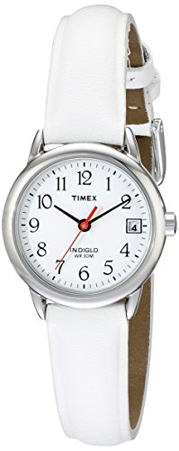 Timex Women's T2H391  Indiglo Leather Strap Watch, White/Silver-Tone (Timex Ez Reader)