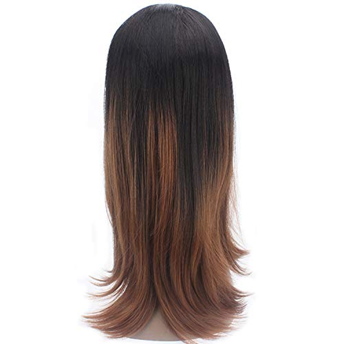 Black Brown Lace Front Wigs With Baby Hair Long Soft Straight Free Part Synthetic Hair Wigs For Women X TRESS Lace Wig,TT2-30,Lace Front,20inches]()