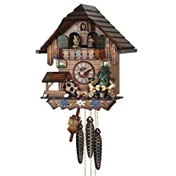Mechanical Cuckoo Clock with Music and Dancing Couple, 10.5 Inch