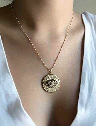 - Big Evil Eye for Women Pendant Necklace 17.5 Inches Ball Chain