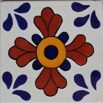 6x6 4 pcs Blue Seville Talavera Mexican Tile by Fine Crafts & Imports
