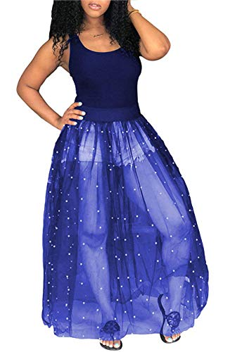 Knight Horse Womens Sexy Beading Black Sheer Skirt Bodycon Clubwear Maxi Dress X-Large Blue