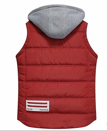 Thicken Slim Outwear Down Up Vests Red Mens Hooded Zip MK988 Fit 8Fx5tqn5H