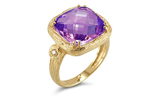 I REISS 14K Yellow Gold 6.79ct TGW Amethyst and Diamond Ring