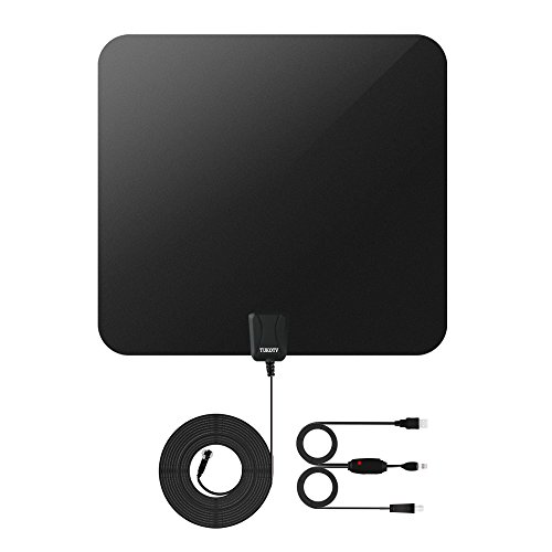 TV Antenna,TUKOTV Indoor Amplified 1080P HDTV Antenna 50 Mile Range, USB Power Supply and 19.5FT High Performance Coaxial Cable, Black And White - With Detachable Colore Butterflies.