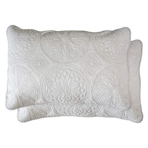 Brandream Beige Medallion Quilted Pillow Shams Standard Size 100% Cotton Pillow Covers Decorative Farmhouse Bedding