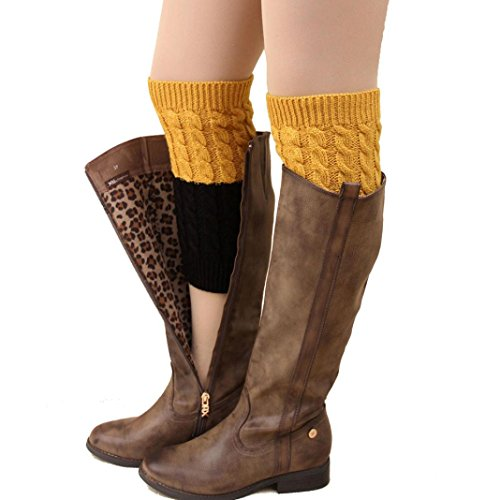 - Voberry Women Two Tone Knitted Jacquard Boot Cuffs Toppers Leg Warmers Socks for Boots (Yellow)