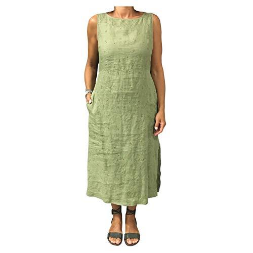 Italy 100 In 7186 Mod Made Donna Eccentrica Abito fiori Lino Verde 53 A2 Righe XzRO7x0n