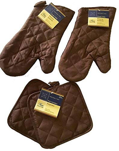 - Home Collection Kitchen Oven Mitt Pot Holder Set Kitchen Linens Oven Mitt Pot Holder Pack (Brown)