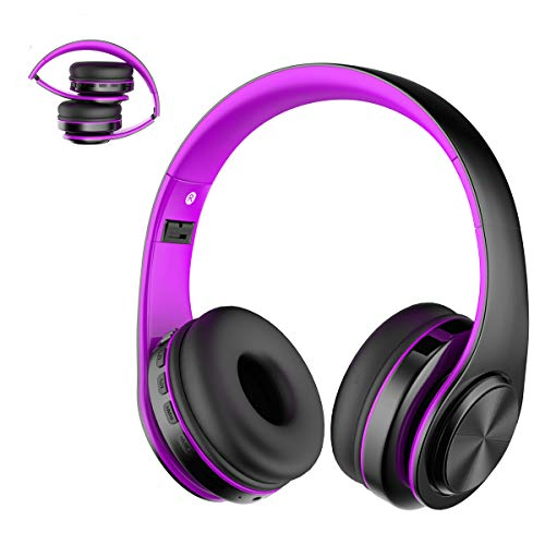 Viwind Wireless Bluetooth 5.0 Headphones Over Ear with Mic,Foldable Noise Cancelling Headset for Travel Work TV PC Android Cellphone 【Hi-Fi Stereo &Comfortable Earpads】-Purple