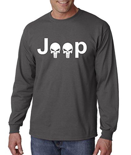 New Way 606 - Unisex Long-Sleeve T-Shirt JEEP PUNISHER LOGO SKULLS XL Charcoal (Logo Sleeveless T-shirt)