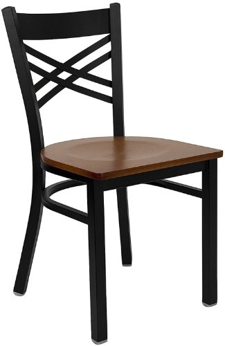 Flash Furnitureack Metal Restaurant Chair with Cherry Wood Seat